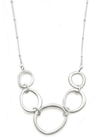 "Five Oval Silver Necklace by Philippa Roberts Jewelry based in Oakland, CA. Brushed sterling silver multi circle  4 1/4"" pendant on a 16"" sterling silver chain with 2"" extender."