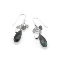 "Labradorite and Aqua Cluster Earrings by Philippa Roberts Jewelry based in Oakland, CA. Aquamarine, labradorite, and brushed sterling silver pieces arranged in a cluster hanging 1 1/4"" from french wires."