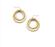 "Double Circles Vermeil Earrings by Philippa Roberts Jewelry based in Oakland, CA. Two oragnic circles in brushed gold vermeil on gold french wires hanging 1 1/4""."