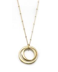 "Double Circle Vermeil Necklace by Philippa Roberts Jewelry based in Oakland, CA. Brushed gold vermeil open double circles 1"" pendant on a 16"" gold vermeil chain with 2"" extender."