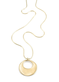 "Open Circle Vermeil Necklace by Philippa Roberts Jewelry based in Oakland, CA. Brushed gold vermeil open circle 1"" pendant on a 18"" gold vermeil chain."