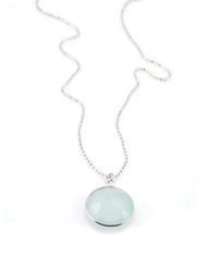 "Chalcedony Round Silver Necklace by Philippa Roberts Jewelry based in Oakland, CA. Multifaceted chalcedony 5/8"" pendant with brushed sterling silver bezel on a 16"" sterling silver chain."