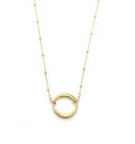 "Small Circle Vermeil Necklace by Philippa Roberts Jewelry based in Oakland, CA. Brushed gold vermeil open circle 5/8"" pendant on a 16"" gold vermeil chain with 2"" extender."