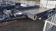"14 X 6'6"" Tandem Car Carrier Trailer Full Checker Plate floor, Winch, Ramps, Jockey wheel, Spare Wheel"
