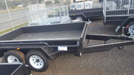 "9 X 5 Heavy duty Tandem 1990kg GVM 12"" Sides, Full Checker Plate, Drop Front, New Rims and tyres and Jockey Wheel"