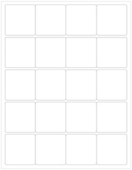 "2"" Square Labels, Blank 20 per sheet [25 Sheets, 500 Labels]"