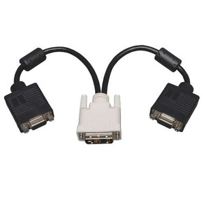 Computer- DVI to 2 x VGA Splitter Adapter - Analog DVI-M to 2 x HD15F - 1 ft.