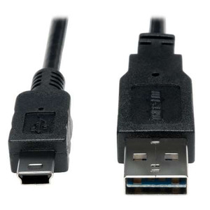 """Universal Reversible USB 2.0 Hi-Speed Converter Adapter Cable (Reversible A to 5Pin Mini B M/M), 3-ft."" (tripp_UR030-003)"