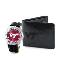 Virginia Tech Hokies NCAA Mens Leather Watch and Wallet Gift Set
