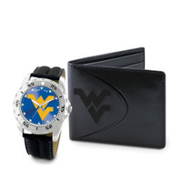 West Virginia Mountaineers NCAA Mens Leather Watch and Wallet Gift Set