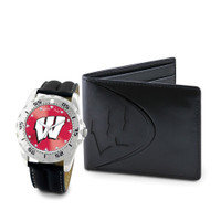 Wisconsin Badgers NCAA Mens Leather Watch and Wallet Gift Set