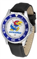 Kansas Jayhawks Competitor Leather Watch White Dial