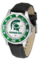 Michigan State Spartans Competitor Leather Watch White Dial