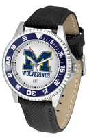 Michigan Wolverines Competitor Leather Watch White Dial
