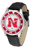 Nebraska Cornhuskers Competitor Leather Watch White Dial