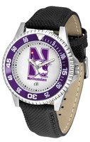 Northwestern Wildcats Competitor Leather Watch White Dial