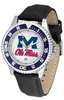 Mississippi Rebels Competitor Leather Watch White Dial