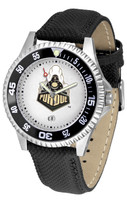 Purdue Boilermakers Competitor Leather Watch White Dial