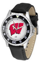 Wisconsin Badgers Competitor Leather Watch White Dial