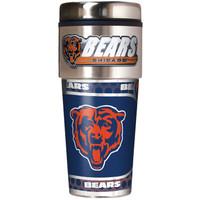 Chicago Bears 16oz Travel Tumbler with Metallic Wrap Logo