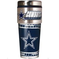 Dallas Cowboys 16oz Travel Tumbler with Metallic Wrap Logo