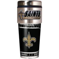 New Orleans Saints 16oz Travel Tumbler with Metallic Wrap Logo