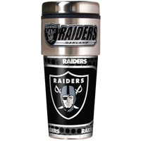 Oakland Raiders 16oz Travel Tumbler with Metallic Wrap Logo