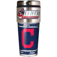 Cleveland Indians 16oz Travel Tumbler with Metallic Wrap Logo