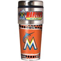 Miami Marlins 16oz Travel Tumbler with Metallic Wrap Logo