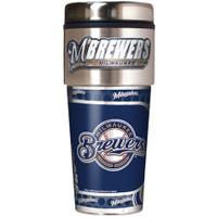 Milwaukee Brewers 16oz Travel Tumbler with Metallic Wrap Logo