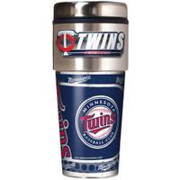 Minnesota Twins 16oz Travel Tumbler with Metallic Wrap Logo