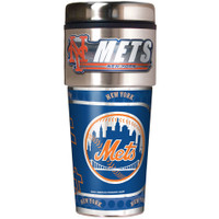 New York Mets 16oz Travel Tumbler with Metallic Wrap Logo