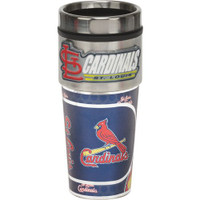 St. Louis Cardinals 16oz Travel Tumbler with Metallic Wrap Logo