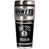 Brooklyn Nets 16oz Travel Tumbler with Metallic Wrap Logo