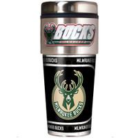Milwaukee Bucks 16oz Travel Tumbler with Metallic Wrap Logo
