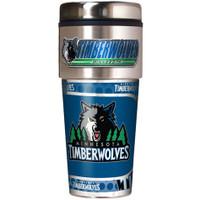 Minnesota Timberwolves 16oz Travel Tumbler with Metallic Wrap Logo