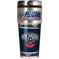New Orleans Pelicans 16oz Travel Tumbler with Metallic Wrap Logo