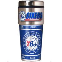 Philadelphia 76ers 16oz Travel Tumbler with Metallic Wrap Logo