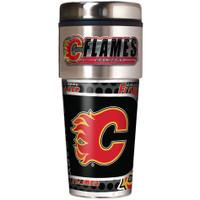 Calgary Flames 16oz Travel Tumbler with Metallic Wrap Logo