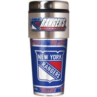 New York Rangers 16oz Travel Tumbler with Metallic Wrap Logo