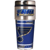 St. Louis Blues 16oz Travel Tumbler with Metallic Wrap Logo