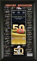 **Denver Broncos 2015 AFC Champions Team Signature Ticket LE 5,000