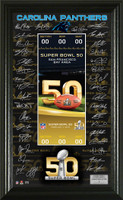 **Carolina Panthers 2016 NFC Champions Super Bowl 50 Team Signature Ticket LE 5000