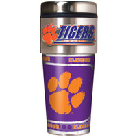 **Clemson Tigers 16oz Travel Tumbler with Metallic Wrap