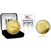 ***Denver Broncos Super Bowl 50 Champions 3-Time Champions Gold Coin LE