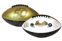 **Super Bowl 50 Full Size Leather Dueling Football - Carolina Panthers vs Denver Broncos