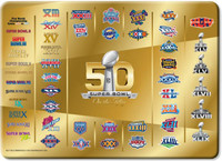 ***Super Bowl 50 Commemorative 50 Years of Super Bowls Glass Cutting Board