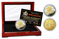 ***Denver Broncos Super Bowl 50 Champions 2-Tone Gold and Silver Coin LE
