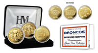 ***Denver Broncos Super Bowl 50 Champions 3pc Gold Coin Set w/Case LE