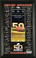 ***Denver Broncos Super Bowl 50 Champions Signature Ticket Framed LE